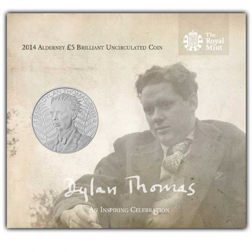 100th Ann. of the Birth of Dylan Thomas 2014 Alderney £5 Brilliant Uncirculated Coin