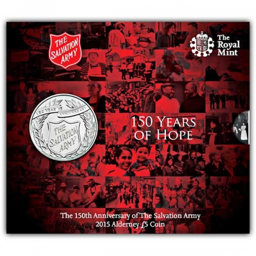 The 150th Anniversary of the Salvation Army 2015 Alderney £5 Brilliant Uncirculated Coin