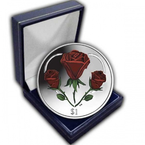 The 2015 The Rose - A symbol of Love Cupro Nickel Colour Coin