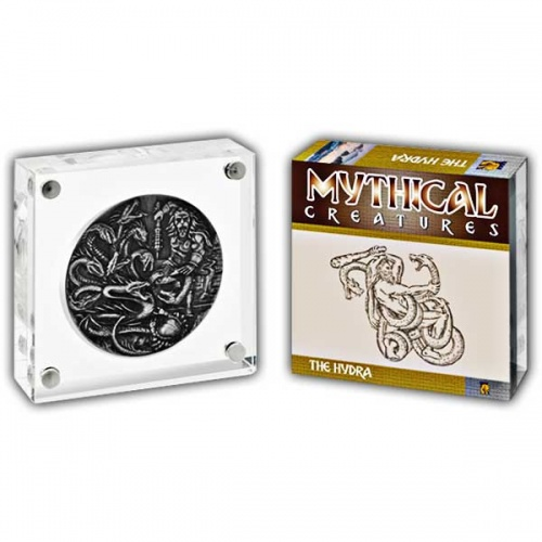 Mythical Creatures The Hydra 2018 2oz Proof Fine Silver High Relief Antique Finish Coin