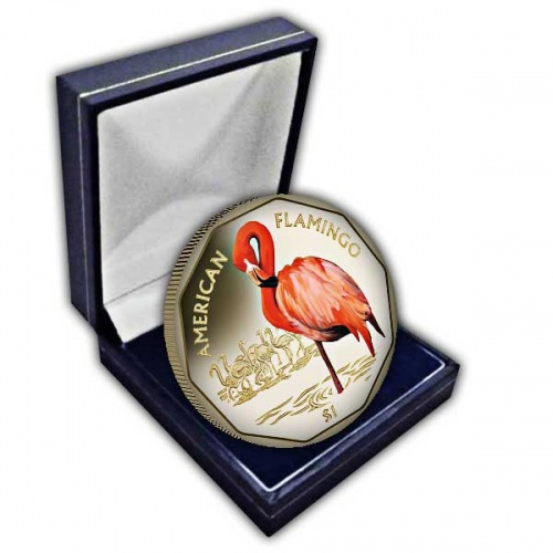 The 2019 American Flamingo Coloured Virenium Coin