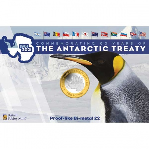 60th Anniversary of the Antarctic Treaty 2021 £2 Bi-metal Coin