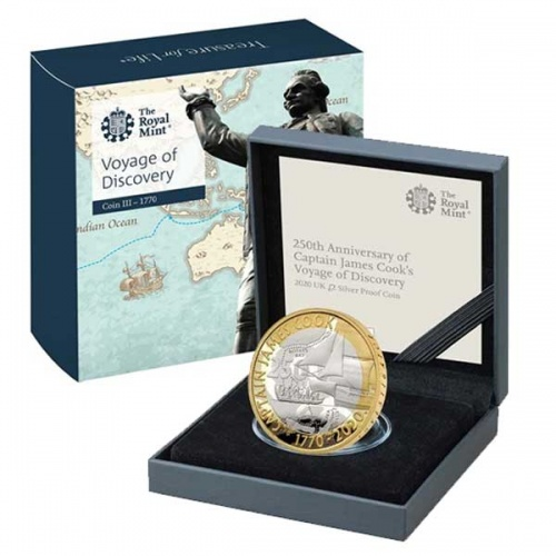 Captain Cook 2020 £2 Silver Proof Coin