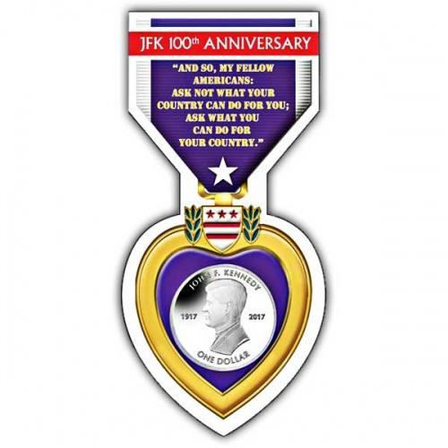Centenary of Birth John F. Kennedy 2017 Cupro Nickel in Purple Heart Pack