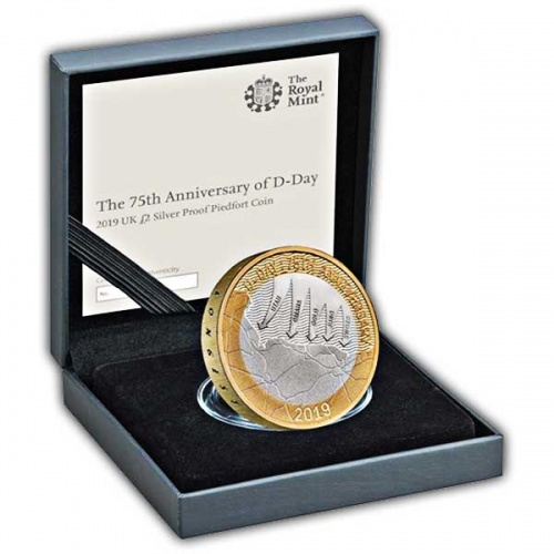 D-Day UK £2 Silver Proof Piedfort Coin