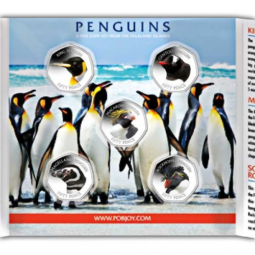 Falkland Islands Penguin 2018 50p Cupro Nickel Coin Set