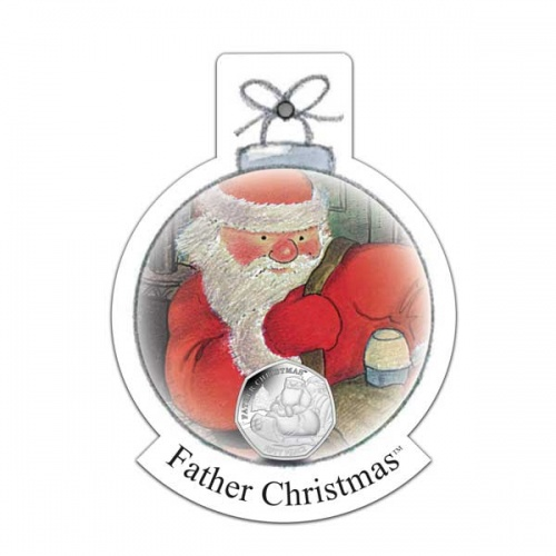 Father Christmas 2020 50p Cupro Nickel Coin in a decoration