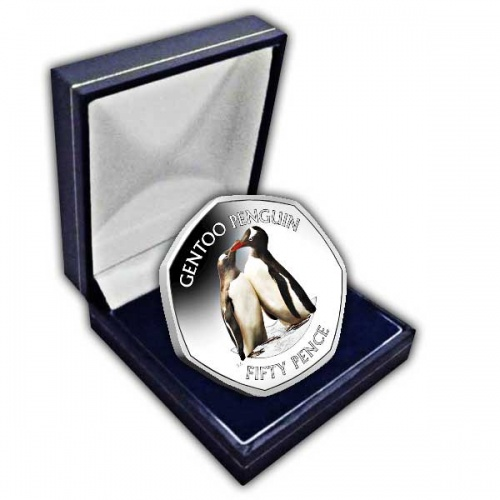 Gentoo Penguin 2019 50p Cupro Nickel Coloured Coin