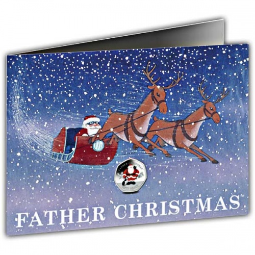 Santa and his Dog 2019 50p Cupro Nickel Coin in a card