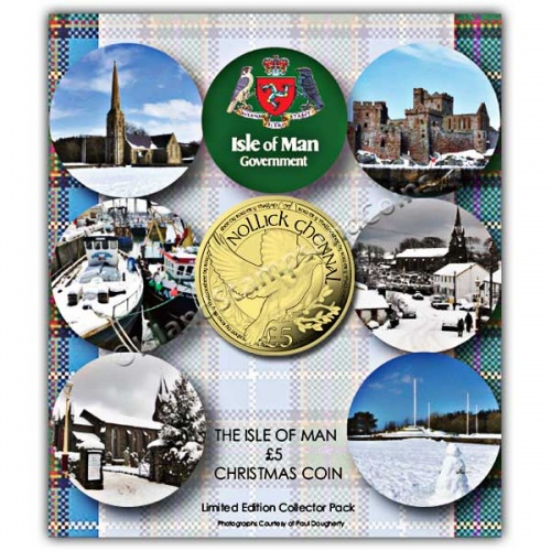 The 2017 Christmas Dove £5 Alpaca Coin in a card