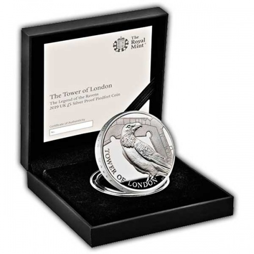 Legend of the Ravens 2019 UK £5 Silver Proof Piedfort Coin