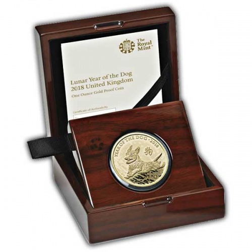 Lunar Year of the Dog 2018 UK One Ounce Gold Proof Coin