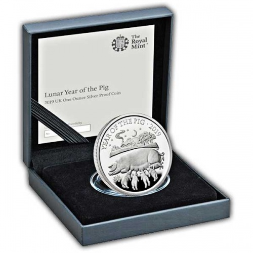 Lunar Year of the Pig 2019 UK One Ounce Silver Proof Coin
