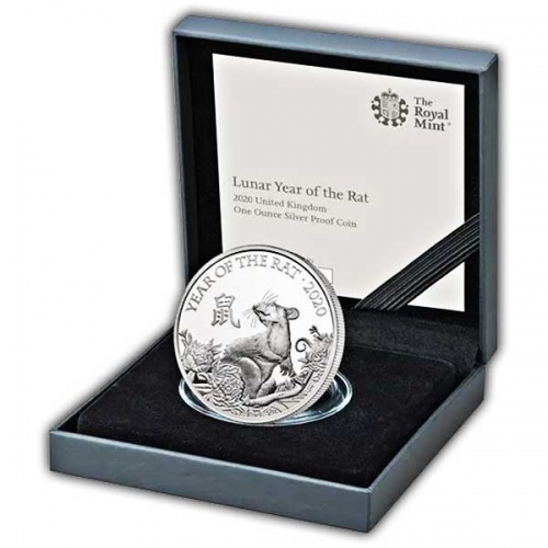 Lunar Year of the Rat 2020 United Kingdom One Ounce Silver Proof Coin
