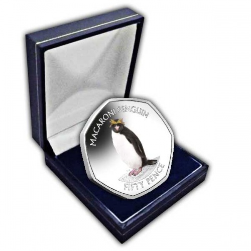 The Macaroni Penguin 2020 50p Cupro Nickel Coloured Coin
