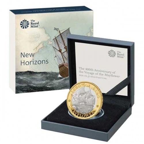 Mayflower 2020 UK £2 Silver Proof Coin