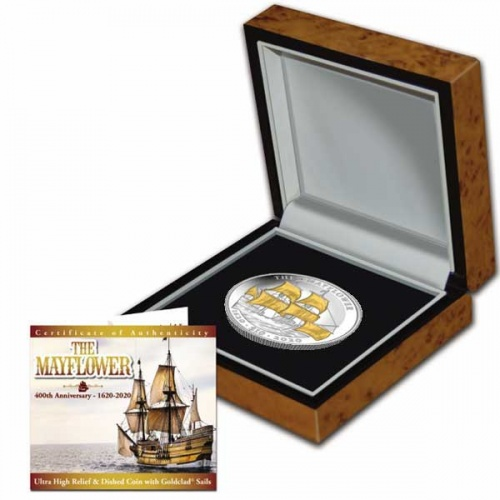 Commemorating 400 Years of the Mayflower 2020 Ultra High Relief with GoldClad