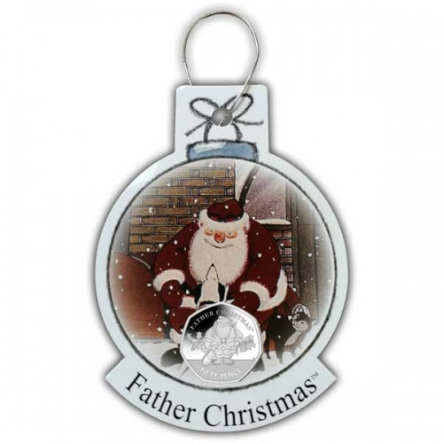 Santa and his Dog 2019 50p Cupro Nickel Coin in a decoration