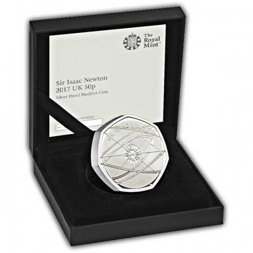 Sir. Isaac Newton 2017 UK 50p Silver Proof Piedfort Coin