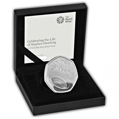 Celebrating the Life of Stephen Hawking 2019 UK 50p Silver Proof Coin