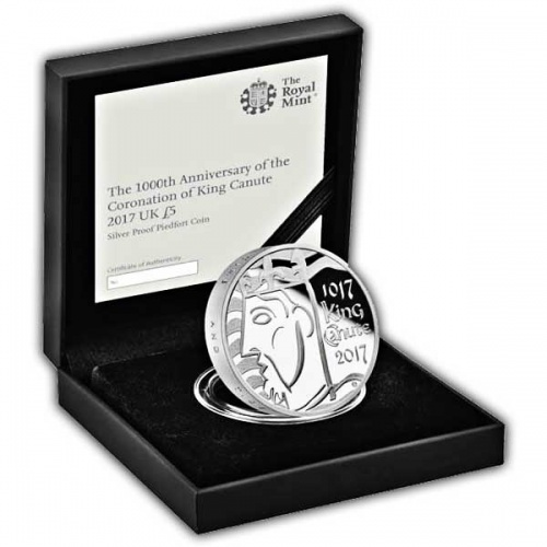 The 1000th Coronation of King Canute 2017 UK £5 Silver Proof Piedfort Coin