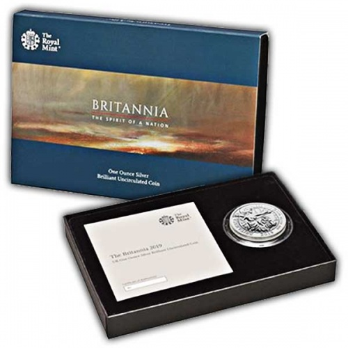 The Britannia 2019 UK One Ounce Silver Brilliant Uncirculated Coin