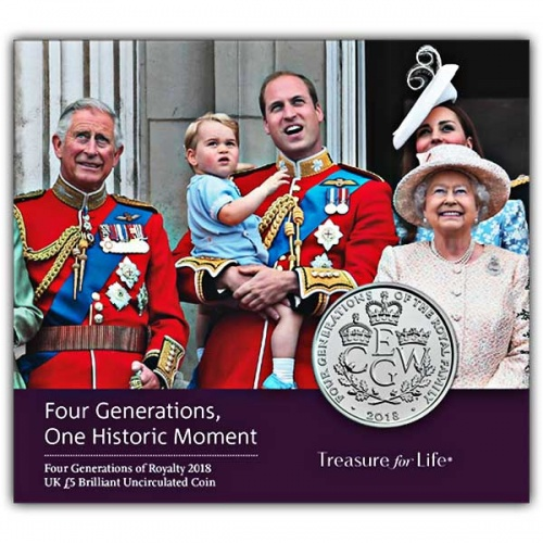 The Four Generations of Royalty 2018 UK £5 Brilliant Uncirculated Coin