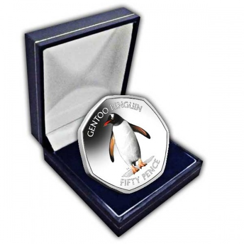 The Gentoo Penguin 2020 50p Cupro Nickel Coloured Coin