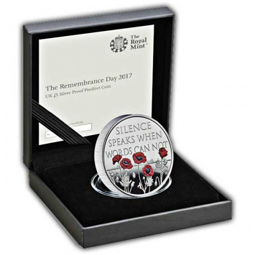 The Remembrance Day 2017 UK £5 Silver Proof Piedfort Coin