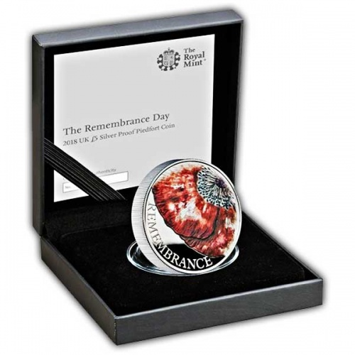 The Remembrance Day 2018 UK £5 Silver Proof Piedfort Coin