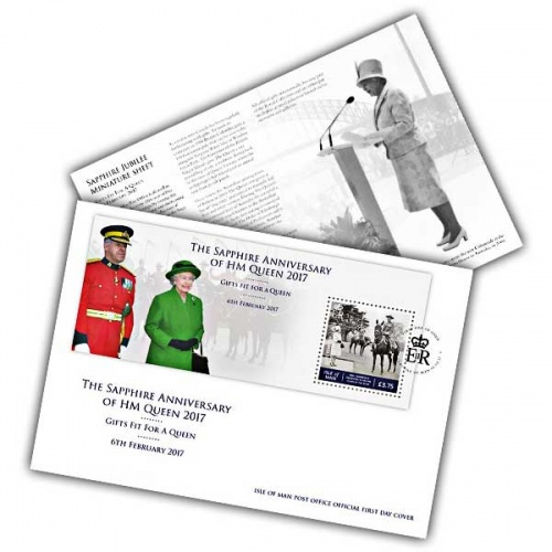 The Sapphire Anniversary of HM Queen - Gifts fit for a Queen Miniature Sheet First Day Cover