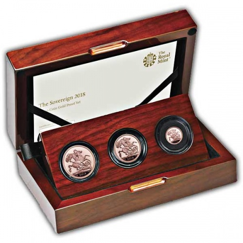 The Sovereign 2018 with '65' mint mark Three-Coin Proof Set