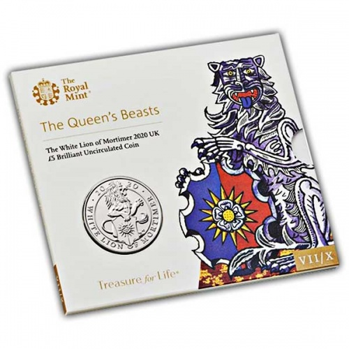 The Queen's Beasts The White Lion of Mortimer 2020 UK £5 Brilliant Uncirculated Coin