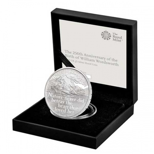 William Wordsworth 2020 UK £5 Silver Proof Coin