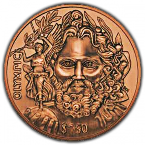 The 2013 Father of Modern Olympics Antique Finish Copper Coin