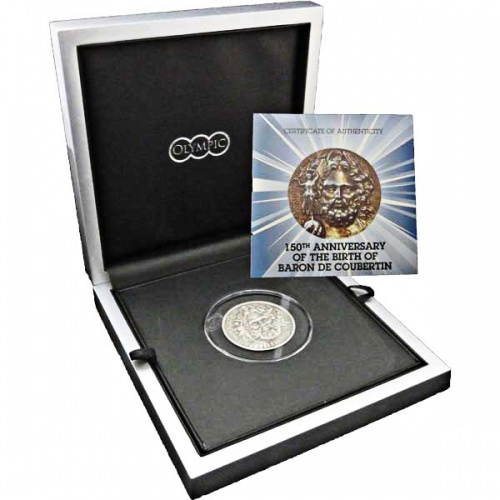 The 2013 Father of Modern Olympics Antique Finish Silver Coin