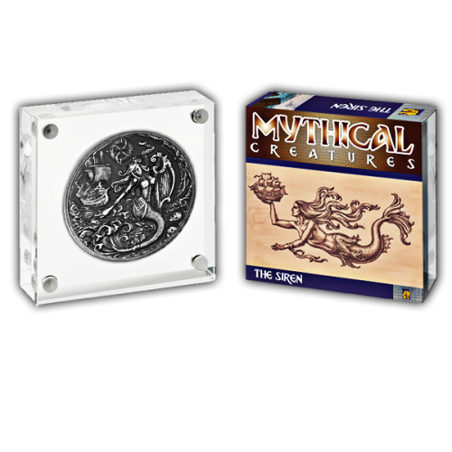 Mythical Creatures The Siren 2018 2oz Proof Fine Silver High Relief Antique Finish Coin