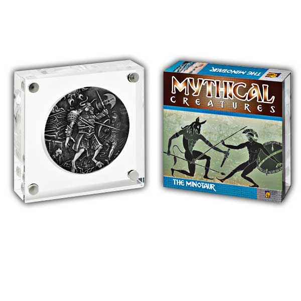 Mythical Creatures The Minotaur 2018 2oz Proof Fine Silver High Relief Antique Finish Coin