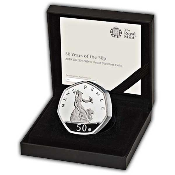50 Years of the 50p 2019 UK 50p Silver Proof Piedfort Coin