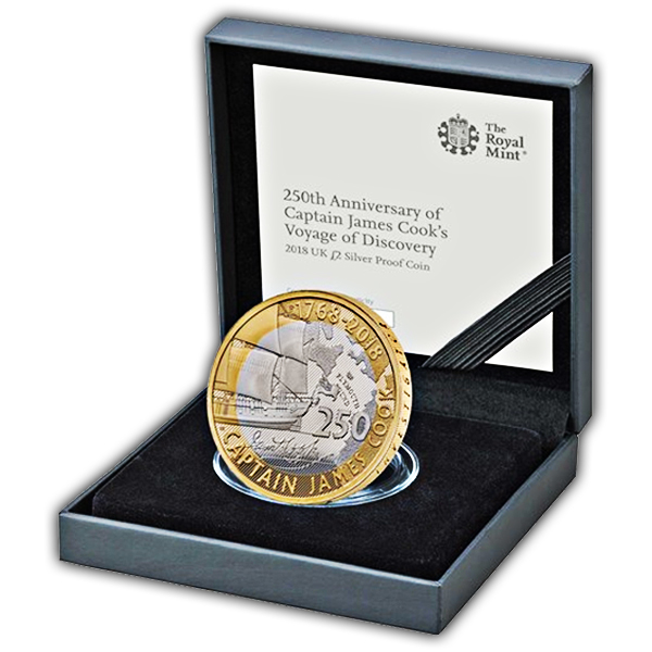 Captain Cook 2018 £2 Silver Proof Coin