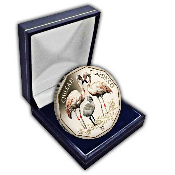 The 2019 Chilean Flamingo Coloured Virenium Coin