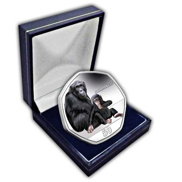 Chimpanzee 2018 50p Cupro Nickel Coloured Coin