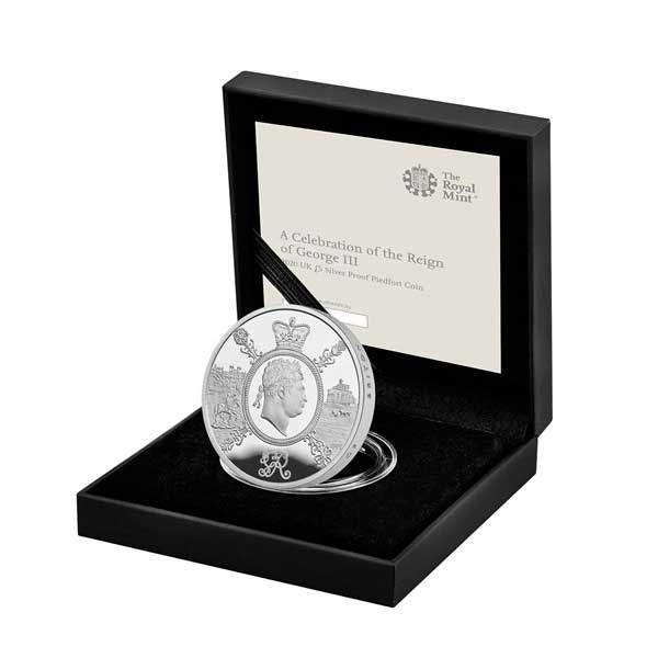 A Celebration of the Reign of George III 2020 UK £5 Silver Proof Piedfort Coin