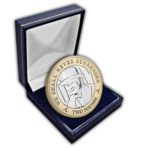 The 2019 D-Day Sir Winston Churchill £2 Uncirculated Bi-Metal Coin