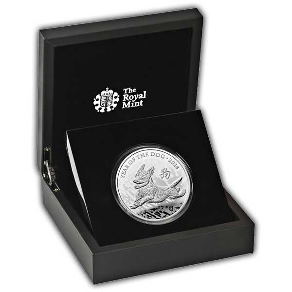 Lunar Year of the Dog 2018 UK Five-Ounce Silver Proof Coin