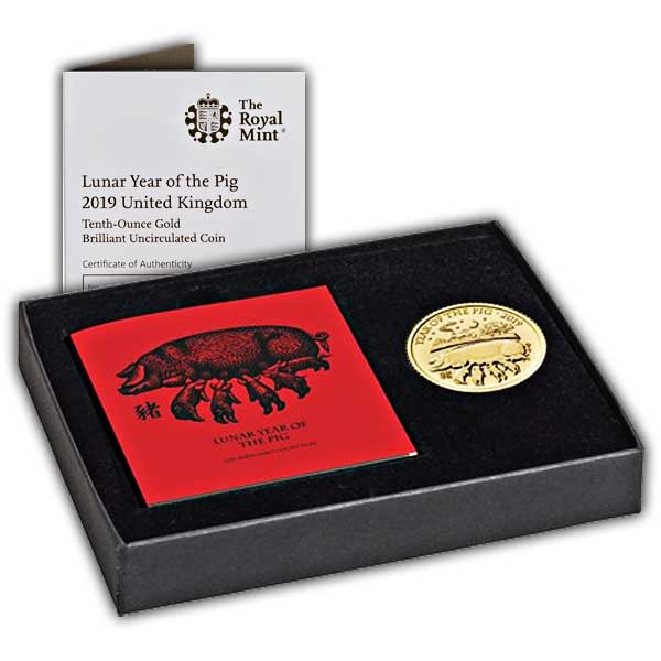 Lunar Year of the Pig 2019 UK Tenth-Ounce Gold Brilliant Uncirculated Coin