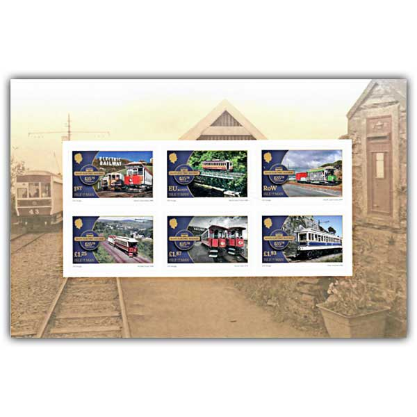 Manx Electric Railway 125th Anniversary Self Adhesive Pane (Mint)