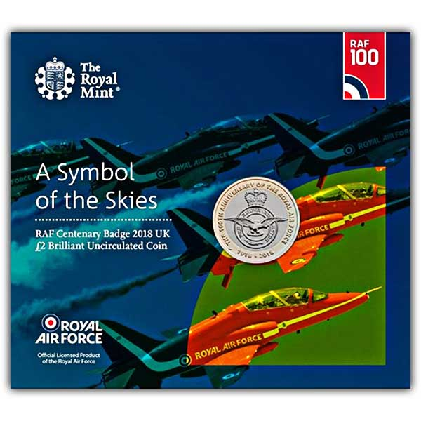 RAF Centenary Badge 2018 UK £2 Brilliant Uncirculated Coin