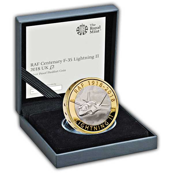 RAF Centenary Lightning II 2018 UK £2 Silver Proof Piedfort Coin