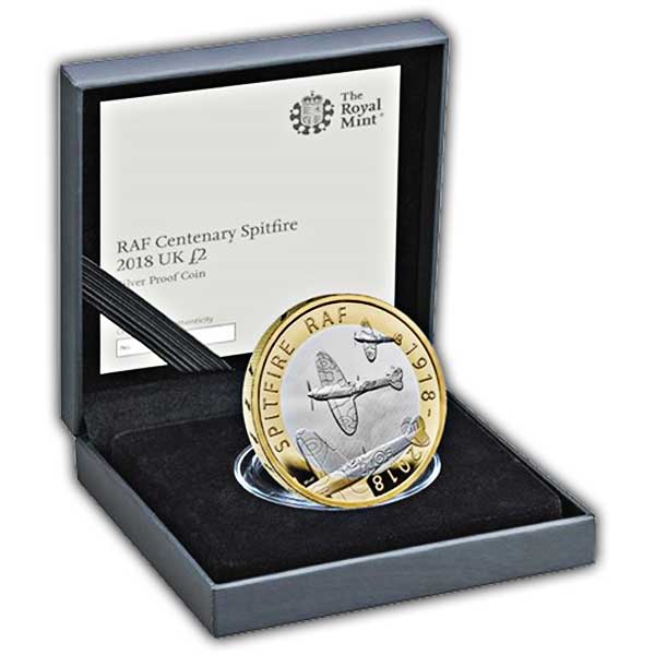 RAF Centenary Spitfire 2018 UK £2 Silver Proof Coin